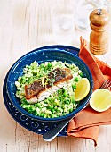 Pea lemon risotto with Barramundi