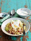 Tuna kedgeree with cooked eggs