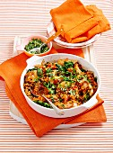 Baked chicken with lentils & spinach