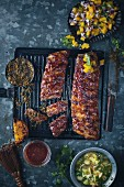 Marinated spare ribs with mango salsa