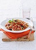Spaghetti alla puttanesca with tuna fish
