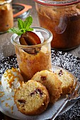 Marzipan cake with plums baked in a glass