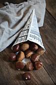 Chestnuts in a paper cone