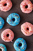Doughnuts with pink and blue icing and sugar sprinkles