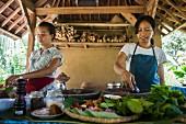 Asiatische Köchinnen kochen in Outdoor-Küche