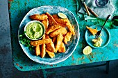 Chicken goujons in a coconut coating with an avocado dip