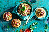 Tostadas with pulled chicken and coleslaw
