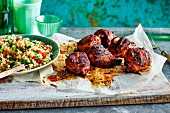Smoked pepper chicken legs and a pearl barley salad