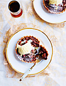 Pecan chocolate tartlets with vanilla ice cream