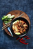 Chinese noodles shredded beef black bean