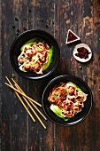 Chinese noodles wontons chilli sauce
