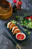 Chinese pork pan fried dumplings