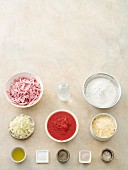 Ingredients for pizza with ham
