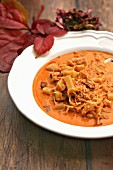 Autumnal sauerkraut soup with potatoes and chorizo