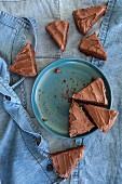Chocolate cake with chocolate glaze, sliced