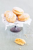 Lemon biscuits on a cake stand