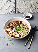 Noodle soup with tofu and shiitake mushrooms (Asia)