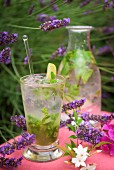 Lavender mojito on a table outside