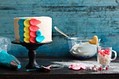 A colourfully decorated cake