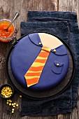 A peach and vanilla 'new job' cake