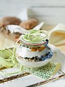 A baking mixture for pumpkin seed rolls in a jar as a gift