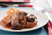 Beef with carrot and potato mash