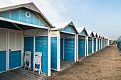 A row of beach huts, Lido, Italy