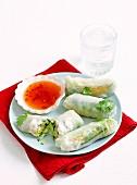 Crab & mango rice paper rolls