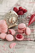 raspberry macaroons with an old kitchen timer