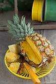 A sliced-open pineapple