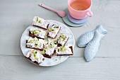 Salmon and cucumber sandwich on pumpernickel bread