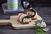 A salmon wrap with olive cream