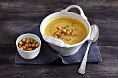 Warming winter soup with parsnips, chickpeas and dried apricots