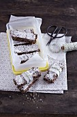 Raw chocolate and coconut bars