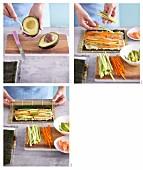 Quinoa-Sushi mit frischem Gemüse zubereiten
