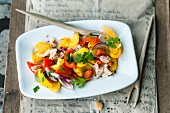 Pepper salad with oranges and tuna fish (Spain)