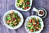 Fattoush with spinach and pomegranate seeds (Lebanon)