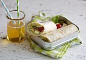 A Mediterranean wrap with feta cheese