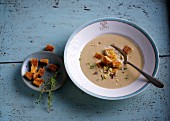 Chestnut soup with thyme croutons