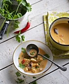 Coconut curry soup with chicken