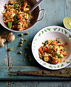 Fried rice with vegetables and wasabi nuts
