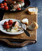 Cod saltimbocca with tomatoes