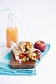 Vegetable and feta cheese wraps
