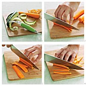 Vegetables being julienned