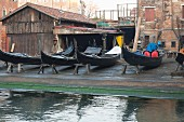 Gondolas being repaired, Venice, Italy