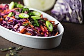 Red cabbage salad with carrots, fennel, pumpkin seeds and spring onions