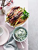 Spiced carrots with almonds and Creamy spinach