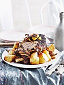 Slow-roast lamb with lemon and mint