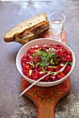 Russian beetroot salad with country bread and vodka