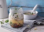 Polenta and mushroom soup in a jar